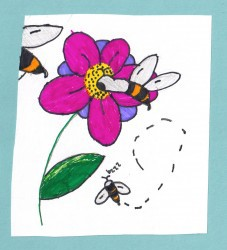 Bees visiting purple flower painting by Jamilla Bullock