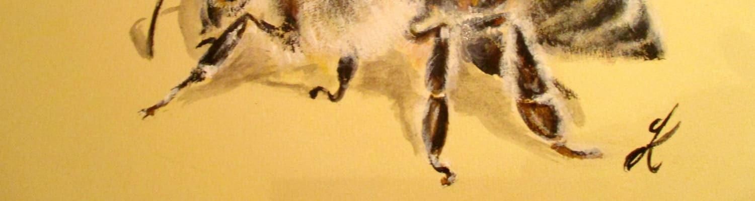 Honeybee painting on yellow background by Julia Kerrison